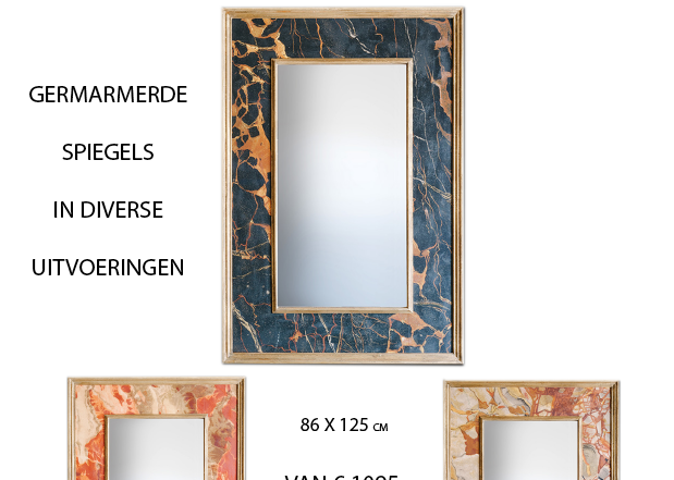 Spiegels met marmer look en gouden details verkrijgbaar bij interieur winkel in Den Haag Frederik Premier Interior the Hague