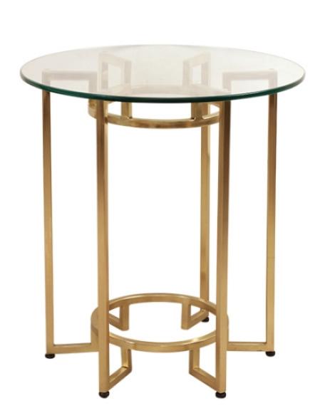 Glazen tafeltje met gouden onderstel frederik premier interieurwinkel Den Haag