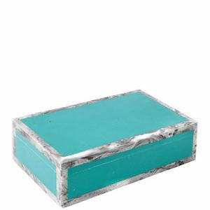 Blanc dIvoire blauw turqoise doos met witte grijze kader interieurwinkel Frederik Premier Den Haag