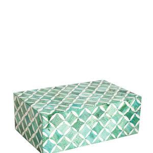 Blanc dIvoire mint turquoise ruiten doos interieurwinkel Frederik Premier Den Haag