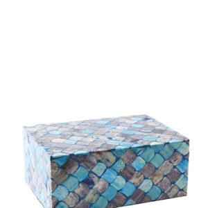 blauw turqoise vissenschubben doosje interieurwinkel Frederik Premier Den Haag