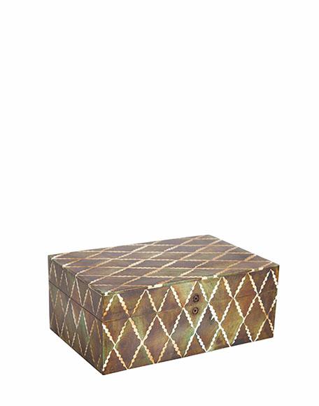 bruine ruitjes met witte omlijning doosje interieurwinkel Frederik Premier Den Haag