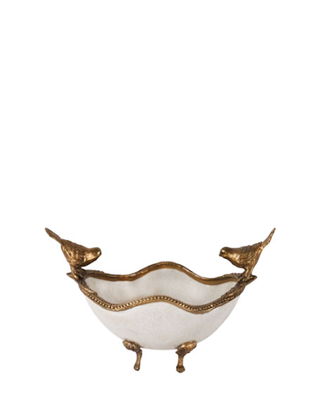Gouden witte kom met vogels interieurwinkel Den Haag Frederik Premier