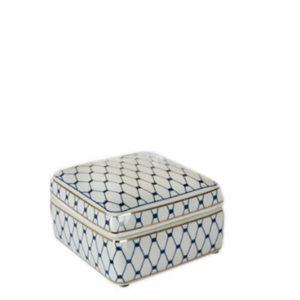 Keramiek blauw witte gouden doos vierkant klein interieurwinkel Den Haag Frederik Premier